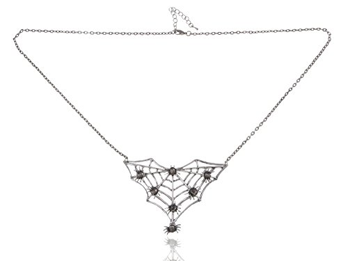 Alma, Fashion Spider Web Shape Necklace Rhinestones Gunmetal Tone (Spiderweb Rhinestone Necklace)