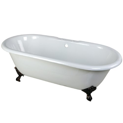 Kingston Brass Aqua Eden VCT7D663013NB5 Cast Iron Double Ended Clawfoot Bathtub with ORB Feet and 7-Inch Centers Faucet Drillings,  66-Inch, White