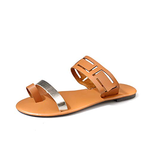 Tiwcer 2019 Summer Shoes Women Casual Sandals Gladiator Flat with Women Sandals Metal Decoration Sandalias Mujer ()