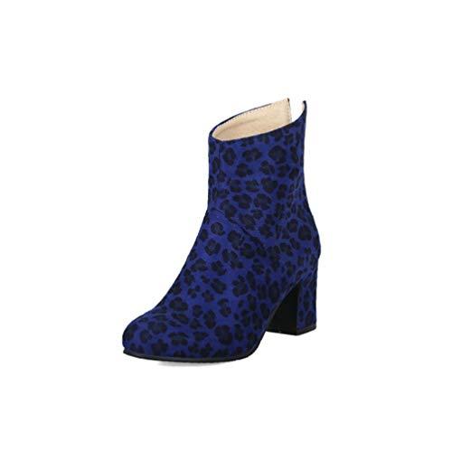 JOYBI Women Fashion Ankle Boots Autumn Winter Round Toe Zip Leopard Print Thick High Heels Short Booties Blue