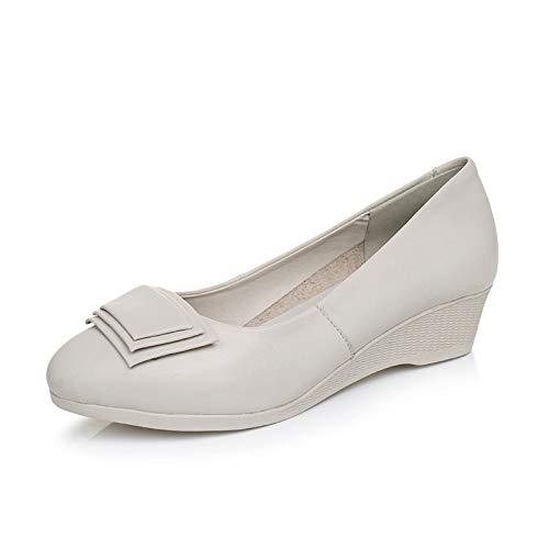 Cuero Zapatos de Zapatos Zapatos y Trabajo señoras G Primavera Las Grueso de Espesor otoño FLYRCX cuña Acentuados Moda de de Zapatos de de cómodo de ZIqFFd
