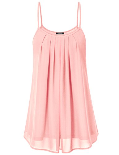 Spaghetti Strap Dress, Laksmi Women's Pleated Front Chiffon Layered Tank Dress, X-Large Peach