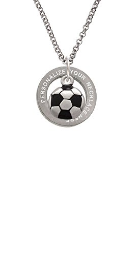 Cheer Bunny Soccer Ball Custom Engraved Affirmation Ring Necklace (Custom Soccer Necklace)