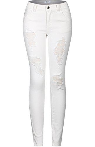 2LUV Women's Stretchy 5 Pocket Destroyed White Skinny Jeans, Size-7, White1 ()