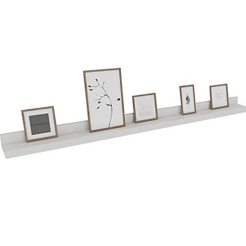 y Floating Wall Shelf White Display Ledge Shelf for Picture Frames Book (Approx. 48-Inch Length) ()