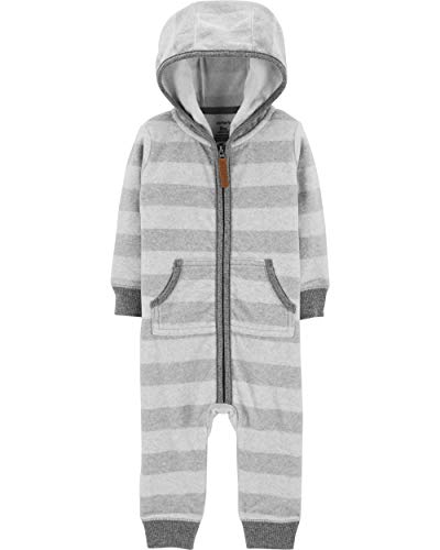 Fleece Baby Jumper - Carter's Baby Boy's Fleece Striped Hooded Jumper,Grey,18 Months