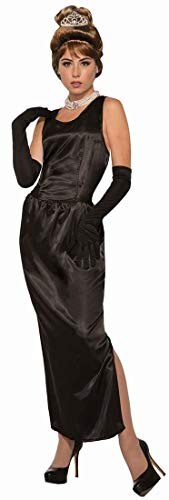 Forum Women's Breakfast At Tiffany's Gown and Gloves Adult Costume, black, Standard
