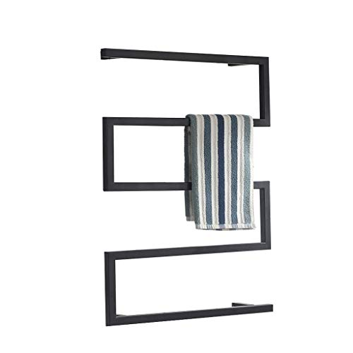 - Electric Heated Towel Rail,Wall Mounted Bathroom Dryer Rack,Warmer Clothes and Towels,Metal Steel Frame - One Button Switch - Black