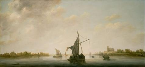 Oil Painting 'A View Of The Maas At Dordrecht,1646 By Aelbert Cuyp', 8 x 17 inch / 20 x 44 cm , on High Definition HD canvas prints is for Gifts And Bath Room, Game Room And Home Office Decoration (River Twill Vest)
