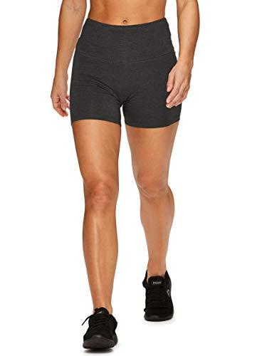 RBX Active Women's Cotton Spandex High Waist Running Bike Short S19 Charcoal XL