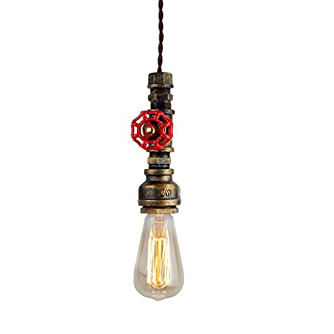 Judy Lighting Vintage Industrial Iron Pipe Light Fixture, 100% Hand Painted Pendant Ceiling Lights, Aged Rusty Bronze Hanging Lamp, for Home Kitchen Lighting