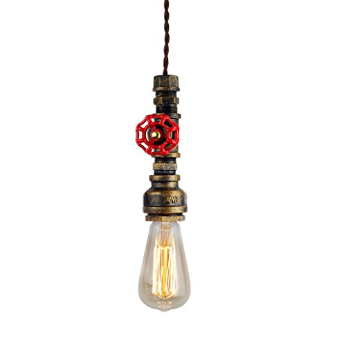 Judy Lighting Vintage Industrial Pipe Light Fixture, Farmhouse Style Metal Pendant Lights, Aged Rustic Bronze Hanging Lamp, for Home Kitchen Bathroom Ceiling Fan -