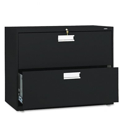HON 2-Drawer Filing Cabinet - 600 Series Lateral Legal or Letter File Cabinet,  Black (H682) by HON