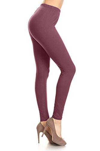 LDR128-WildGinger Basic Solid Leggings, One Size (Type Of Shoes To Wear With Leggings)