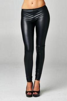 c7a436085e5ca3 Sheetami Women laux Leather Black Side-Zip Leggings (Large) at ...