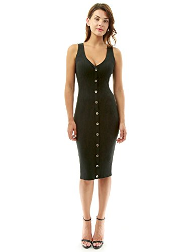 PattyBoutik Women V Neck Sleeveless Knit Dress (Black Medium)