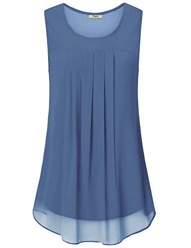 (Timeson Women Chiffon Tank, Junior Sleeveless Blouse Round Neck Chiffon Tank Tops Layers Camisoles for Women Summer Loose Fit Light Soft Tunic Shirts for Skirt Sky Blue)