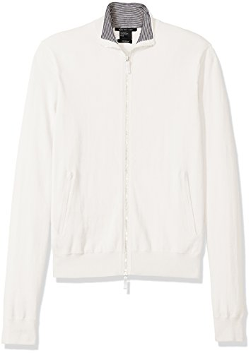 Men's Mock Neck Full Zip Knit, White XX-Large ()