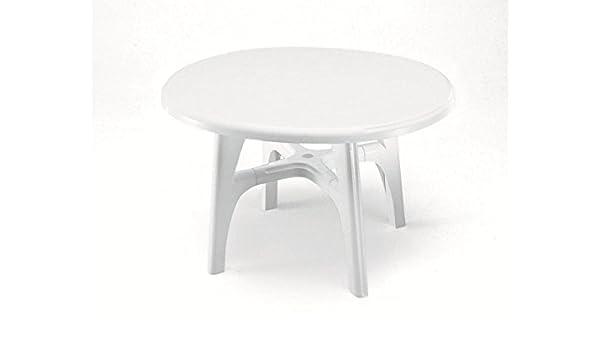 Mesa Ovalada para exterior, Mesa Resina 120 x 100, mesa blanco para jardín: Amazon.es: Hogar