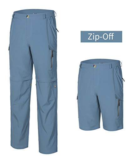 Little Donkey Andy Men's Hiking Convertible Pants Zip-Off Stretch Quick Dry Shorts for Camping,Fishing Blue L
