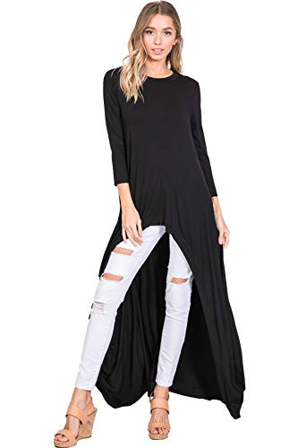 (Annabelle 3/4 Sleeve High Low Casual Long Maxi Tunic Tops Black Small Medium T1022C)