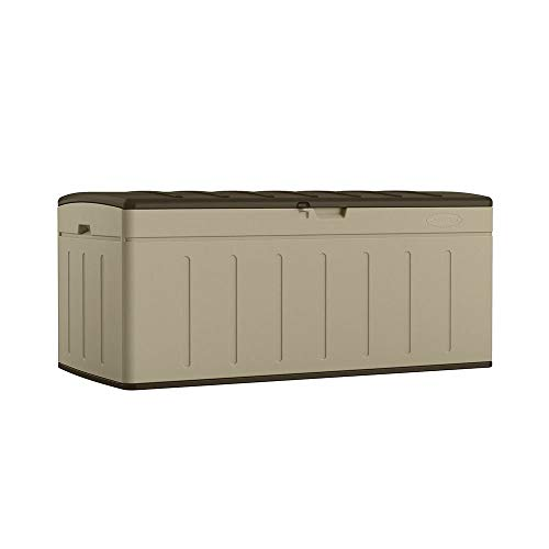 (Suncast 99 Gallon Large Deck Box - Lightweight Resin Outdoor Storage Deck Box for Patio Cushions, Gardening Tools and Toys - Brown)