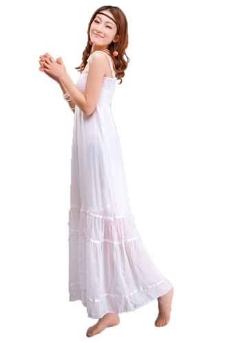 Goodgoods Sexy Solid Slim Bohemian Casual Beach Long Dress One Size (White)