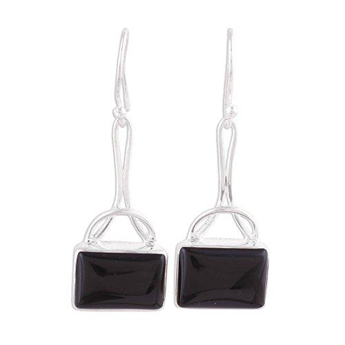 (NOVICA Onyx .925 Sterling Silver Dangle Earrings 'Mystical Gaze in Black')