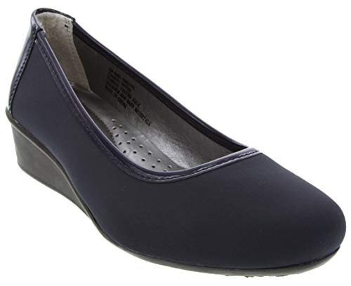 Rampage Women's Choice Dress Loafer Flat Shoe Ladies Demi Wedge Shoe Navy 7