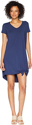 Mod-O-Doc Women's Cotton Modal Spandex Jersey Easy T-Shirt Dress with Tie Hem New Navy Large
