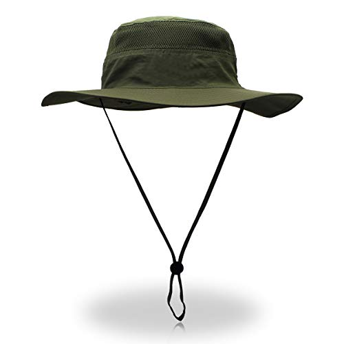 Jane Shine Outdoor Sun Hat Quick-Dry Breathable Mesh Hat Camping Cap Army Green
