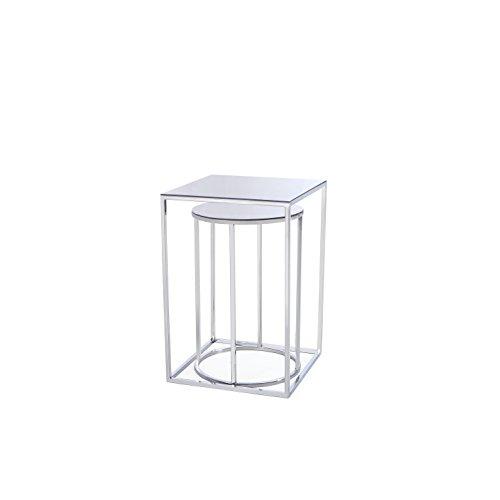 Uptown Club GM3140 Brock Ultra Modern Glass Nesting Tables, Silver
