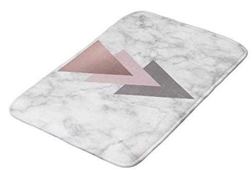 Aomsnet Rose Gold Pink Grey Triangles White Marble Bathroom Decor Mat, Shower Rug Mat Water Absorbent Fast Drying Kitchen, Bedroom, Hotel, Spa Tub.24 L X 16