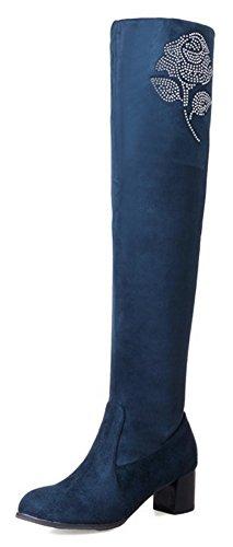 Aisun Womens Fiore Strass Dressy In Finta Pelle Scamosciata Punta Tonda Pull On Mid Tacco Grosso Sopra Il Ginocchio Stivali Scarpe Blu Navy