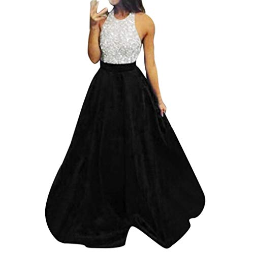 Woman's Dresses,Women Sexy Halter White Sequin Dress Formal Party Evening Long Floor Length Princess Prom Dress (M, -