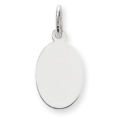 Icecarats Créatrice De Bijoux En Or 14K Blanc Ordinaire 0,027 Jauge Ovale Charme De Disque Gravable