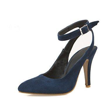 Talones de las mujeres Primavera Verano Otoño Invierno talón abierto de cuero estilete boda del talón de la hebilla Negro Azul Borgoña Blue