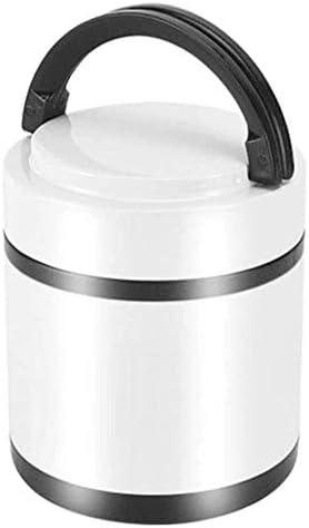 CZHONXIN-BDANGHE べんとう箱, ハンドルを証明フードジャー断熱魔法瓶、サーマルランチコンテナが漏れ、キッズ&大人のためのステンレス鋼のポータブルフラスコランチ真空ボトルは、外出先でホットランチを楽しみます。 (Color : White, Size : 1.3L)