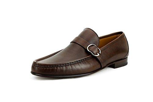 Gucci Men's GG Buckle Calfskin Leather Slip-On Loafer, Brown (8 US/7.5 - Uk Men Gucci