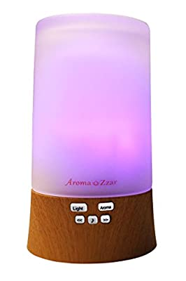 Aroma Zzar Aromatherapy Essential Oil Diffuser with Built in Speaker and Seven Colored Lights, Wooden Grain Base
