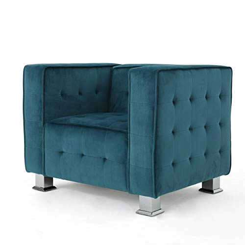 Christopher Knight Home 301719 Boden Tufted Modern Deco Dark Teal New Velvet Arm Chair, Silver