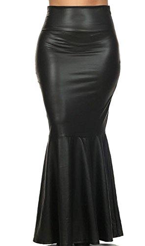 Fashion Forever Black 1442A Faux Leather Mermaid Maxi Skirt Plus (1X)