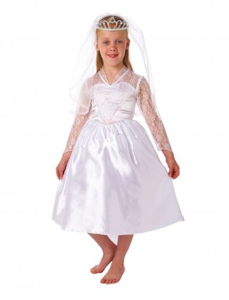 Christys Dress Up Beautiful Bride With Veil And Tiara Costume (6 - 8 Years) (Kids Bride Costume)