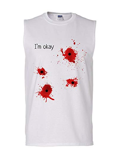 Tee Hunt I'm Okay Halloween Muscle Shirt Funny Bullet Hole Blood Stained Sleeveless White L -