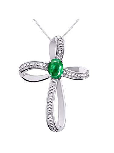 (Diamond & Emerald Cross Pendant Necklace Set In Sterling Silver .925 with 18