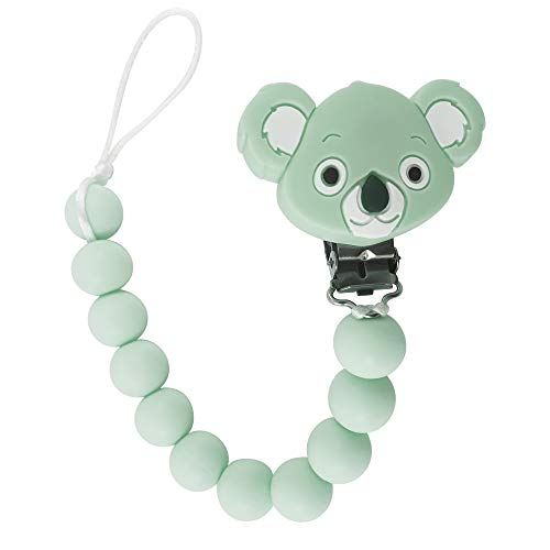 Tulamama's Kuala Bear Pacifier Clip for Boys & Girls, Fits Soothie, Mam, Nuk Pacifiers, Teething Toys and More. Made of Food Grade Silicone & Passed by CPSC. Green