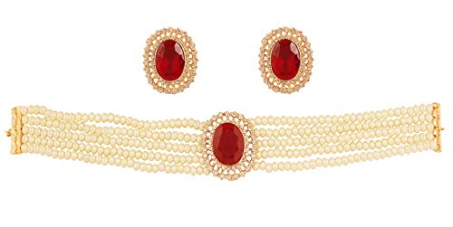 Touchstone New Indian Bollywood Desire Fine Studded Diamond Look White Rhinestone Faux Ruby Pearls Designer Jewelry Choker Necklace in Gold Tone for Women.