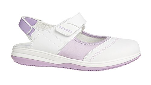 Oxypas Medilogic Melissa Slip-resistant, Antistatic Nursing Shoes in White with Lilac Size EU 39 / UK 6