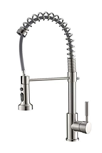 EIGSO Single Handle Kitchen Faucet,Stainless Steel Pull down Sprayer for kitchen,Kitchen Sink Faucet with Pull Out Spring Brushed Nickel -