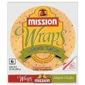 Mission Jalapeno Cheddar Tortilla Wraps, 6 Ct Package, (Pack of 4)